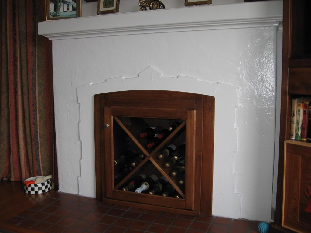 custom fireplace wine rack insert
