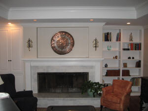 Custom Bookcases Integrated With Pre Existing Fireplace Mantel